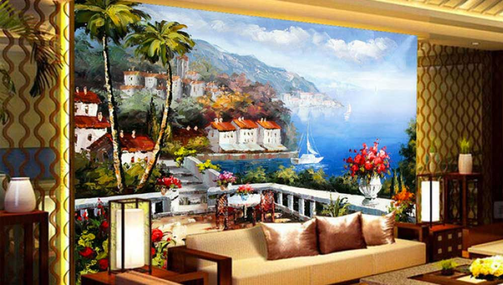 illustration of famous painter on wall of living room