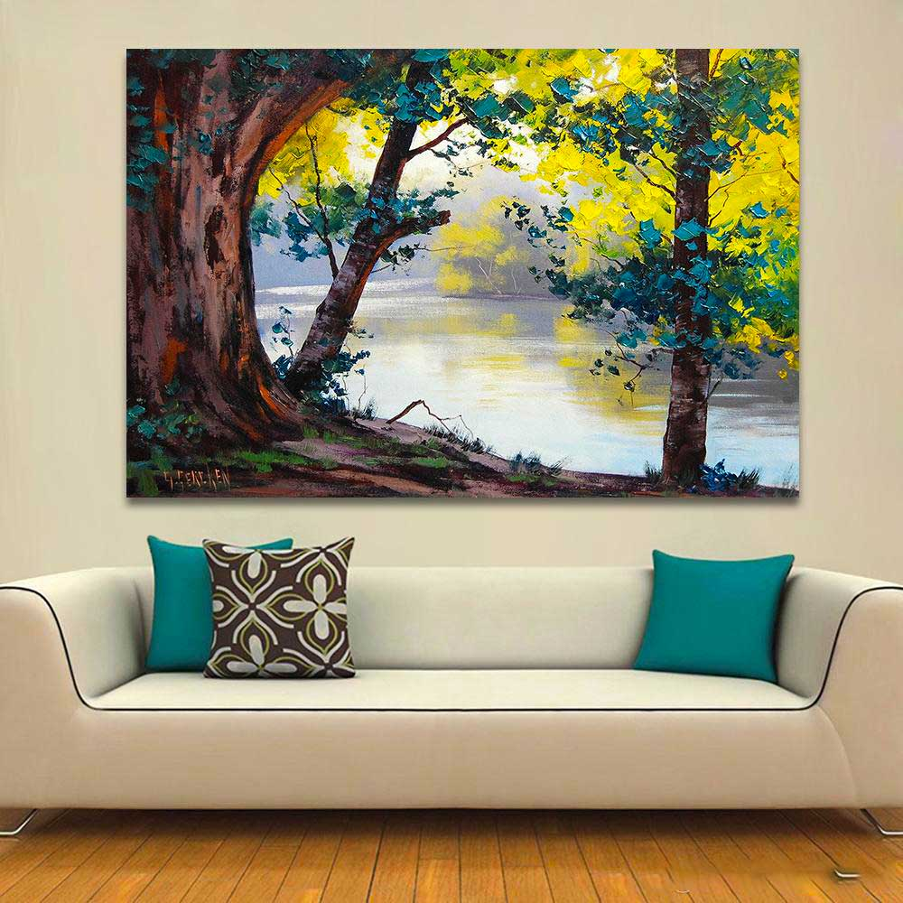 oil painting table with landscape in the living room