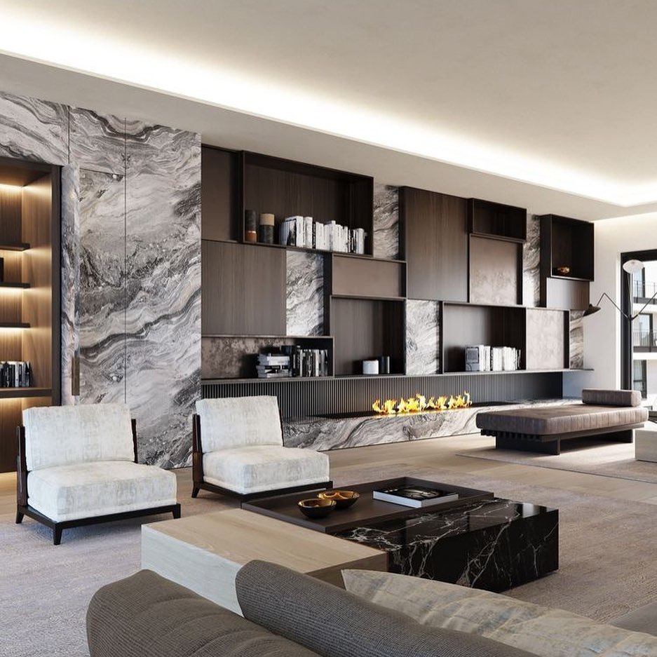 Marble TV Unit Models for Home Decor Trends 2020 (17)