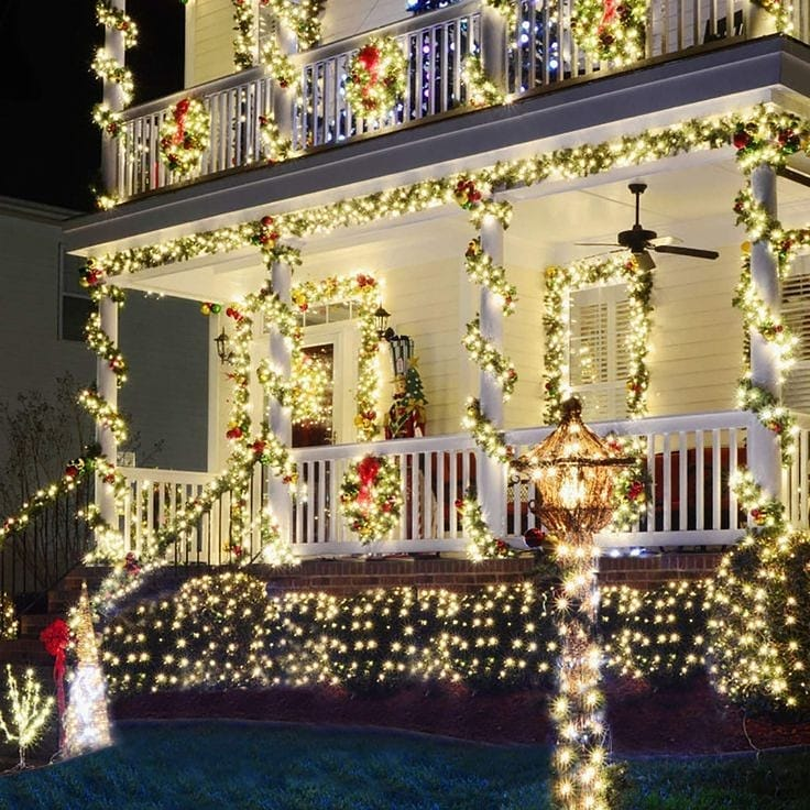 Snow Covered Home Entrance Decoration (14)