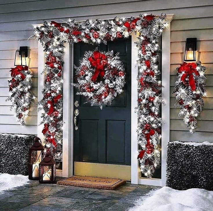 Snow Covered Home Entrance Decoration (16)
